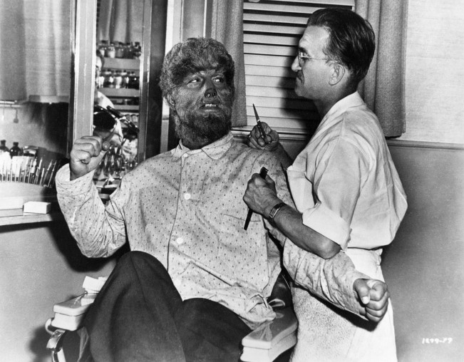 Lon Chaney Jr. and Jack Pierce during production of THE WOLF MAN, 1941.