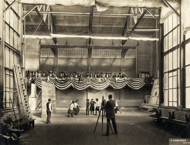 Edwin S. Porter directs A COUNTRY GIRL'S SEMINARY LIFE AND EXPERIENCES, 1908. Interior, Edison Studio, Bronx New York. Henry Cronjager on camera.