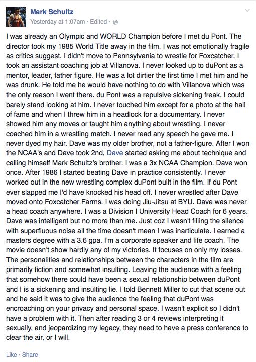 Mark Schultz Facebook statement 2014-12-31 at 10.57.10 AM