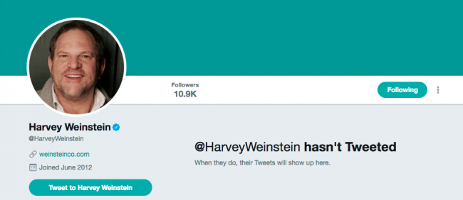 Harvey Weinstein hasn't tweeted